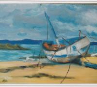 85 - Barque échouée  1988   (VENDU)